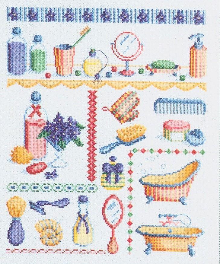 Cute bath accessories free cross stitch pattern from www.coatscraft.pl