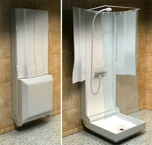 Just install a folding shower into every bedroom in the house and the morning battles over bathroom time will be a thing of the past.   -   -   -  This Folding Shower is a concept by the French company Supiot