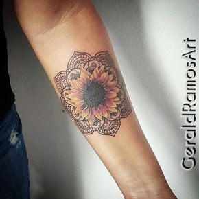 Realistic Colored Sunflower Mandala Floral Flower Wrist Inner Forearm Arm Tattoo Ideas for Women at MyBodiArt.com