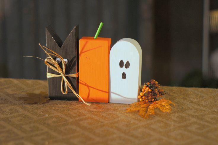 Rustic Halloween Black Cat, Pumpkin, Ghost Shelf Sitter