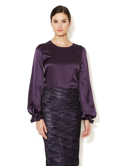 Silk Charmeuse Bow Cuff Blouse. I don't ever think I could justify spending $1k for a blouse....not even this gorgeous plum silk masterpiece with bows on the cuffs. Shame :(