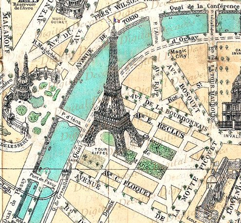 Street Maps of Paris France | Map Champ De Mars - France French Paris Eiffel Tower - Digital Image ...