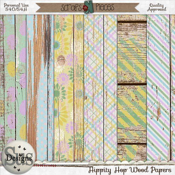 Hippity Hop Wood Papers #SusDesigns #DigiScrap #Scrapbook #ScrapsNPieces