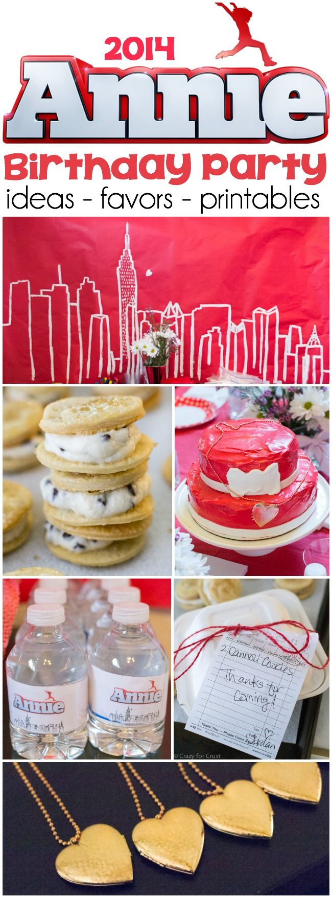 If you're daughter loves Annie you'll need these Annie movie birthday party ideas! Cake, cannoli cookies, decorations, printables, and more!