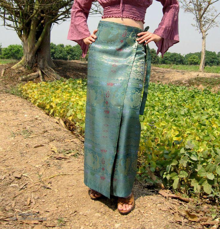 Luxurious Thai Silk Wrap Skirt Peacock And Thailand
