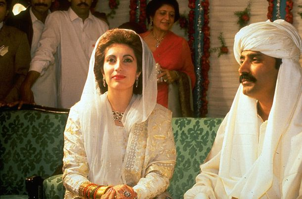 Benazir Bhutto and Asif Ali Zardari on their wedding in Karachi...(Father executed before wedding)