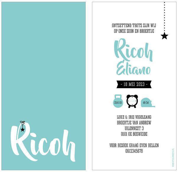 www.hetuilennestje.nl geboortekaartje Ricoh: Typografisch, blauw, wit, zwart, ster, effen, sterren, sterretje, &-teken, jongen. Het Uilennestje - Geboortekaartjes - Zwolle