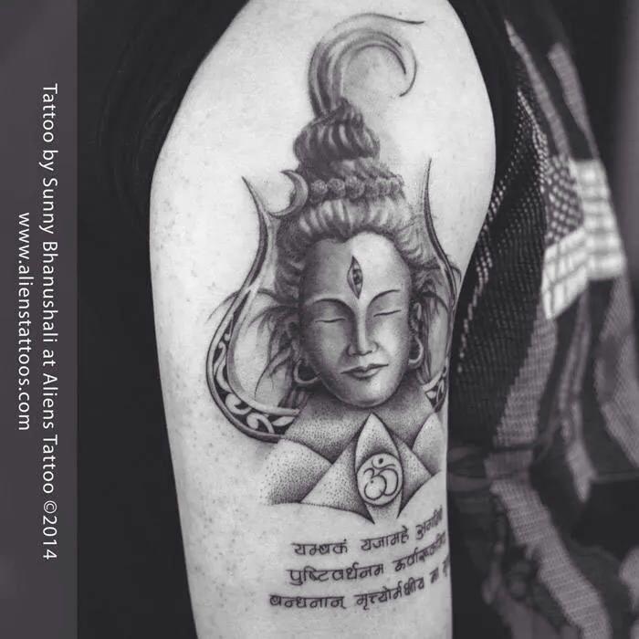 Lord shiva tattoo, design by Amir, tattoo by Sunny Bhanushali at Aliens Tattoo, Mumbai www.alienstattoos.com #tattoo #tattoos #lordshiva #lordshivatattoo #lord #alienstattoo #sunnybhanushali #mumbaitattoo #religioustattoo #realistictattoo #omtattoo