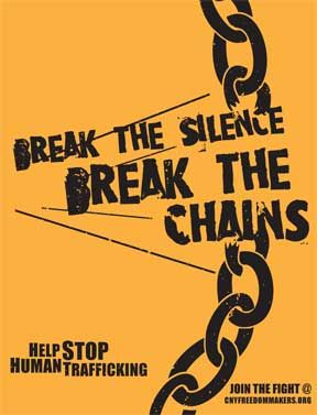 This poster is for the CNY Freedom Makers which is an awareness that helps to stop human trafficking. The main graphic elements are the colours which boldly represent the awareness and the typography which brings out the awareness. What I like about the poster is that the typography is placed in the centre of the broken chains which clearly gives out the message about stopping human trafficking which is, 'Break The Silence Break The Chains'.
