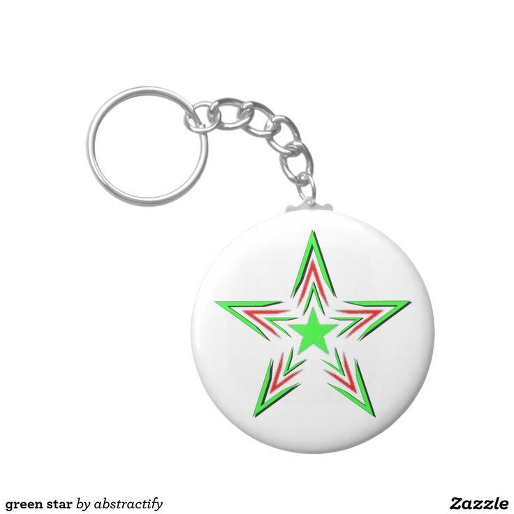 green star basic round button keychain