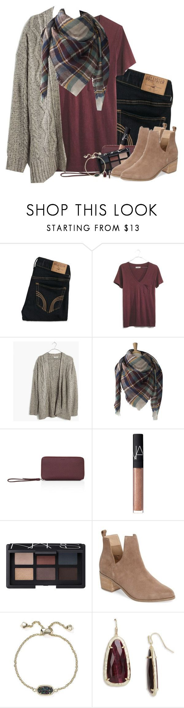 """Chunky cardigan, plaid scarf & burgundy tee"" by steffiestaffie ❤ liked on Polyvore featuring Hollister Co., Madewell, AllSaints, NARS Cosmetics, Sole Society and Kendra Scott"