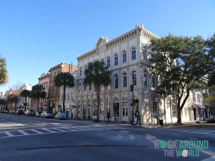 Historische Häuser im Greek Revival-Stil der Antebellum-Architektur (19. Jahrhundert) in Charleston SC