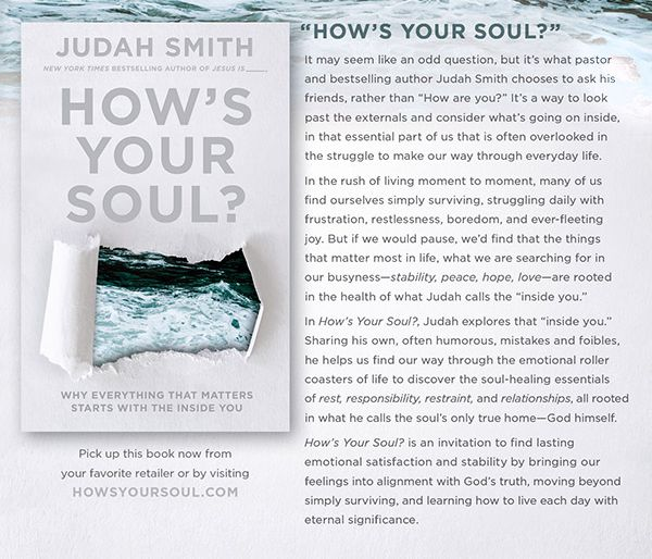 How's Your Soul? It may seem like an odd question, but it's what pastor and bestselling author Judah Smith chooses to ask his friends, rather than How are you? It's a way to look past the externals and consider what's going on inside, in that essential part of us that is often overlooked in the struggle to make our way through everyday life. In the rush of living moment to moment, many of us find ourselves simply surviving, boredom, and ever-fleeting joy. But is we would pause, we'd find…