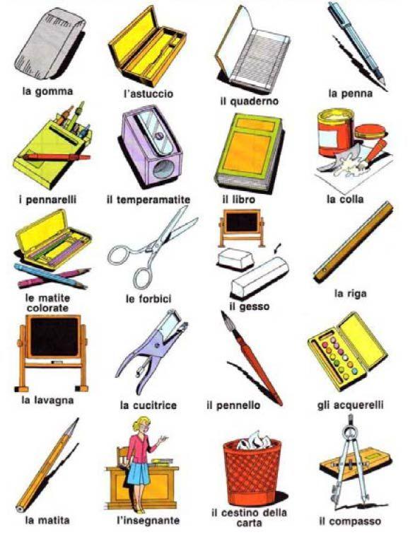 cose che servono per scrivere, a scuola, in ufficio - italiano