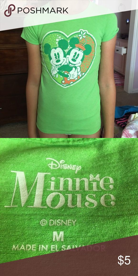 Disney t-shirt Lime green Mickey & Minnie top, size is girls M, slim fit, runs small Disney Shirts & Tops Tees - Short Sleeve