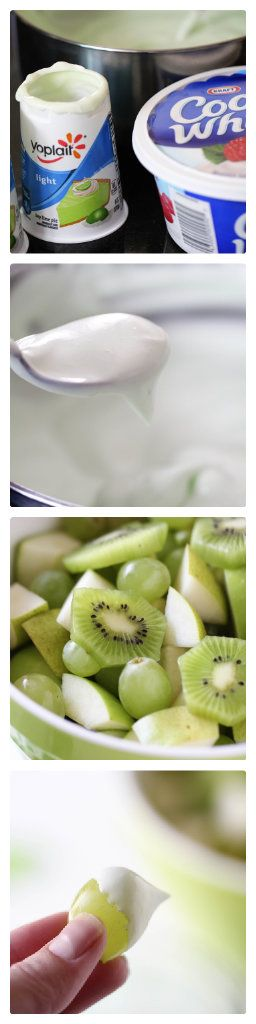 Green dip and fruit -easy breakfast or snack idea for Saint Patrick's Day!