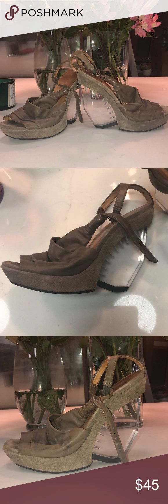 Brown leather allsaints wedges w clear heel Brown leather size 39 European all-saints Wedges. They will fit a 8 1/2. All Saints Shoes Wedges