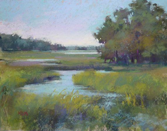Lowcountry Marsh Creek Landscape 11x14 Original Pastel Painting Karen Margulis Kiawah Island