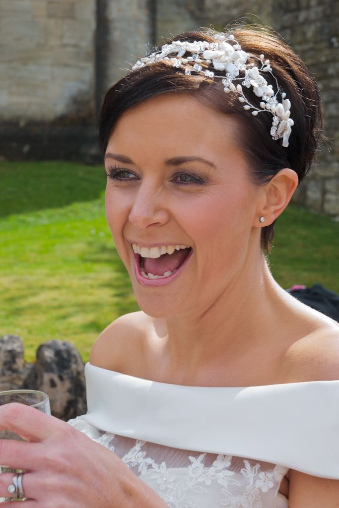 Our real bride Leanna wearing her Hermione Harbutt May Blossom Petite Headdress on her most memorable day! http://www.hermioneharbutt.com/wedding/hair_accessories/buy.php?Product=319&Title=May+Blossom+Petite+Headdress