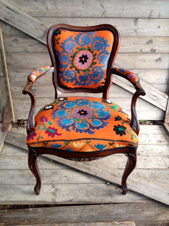 Antique French armchair upholstered in vintage by chezboheme