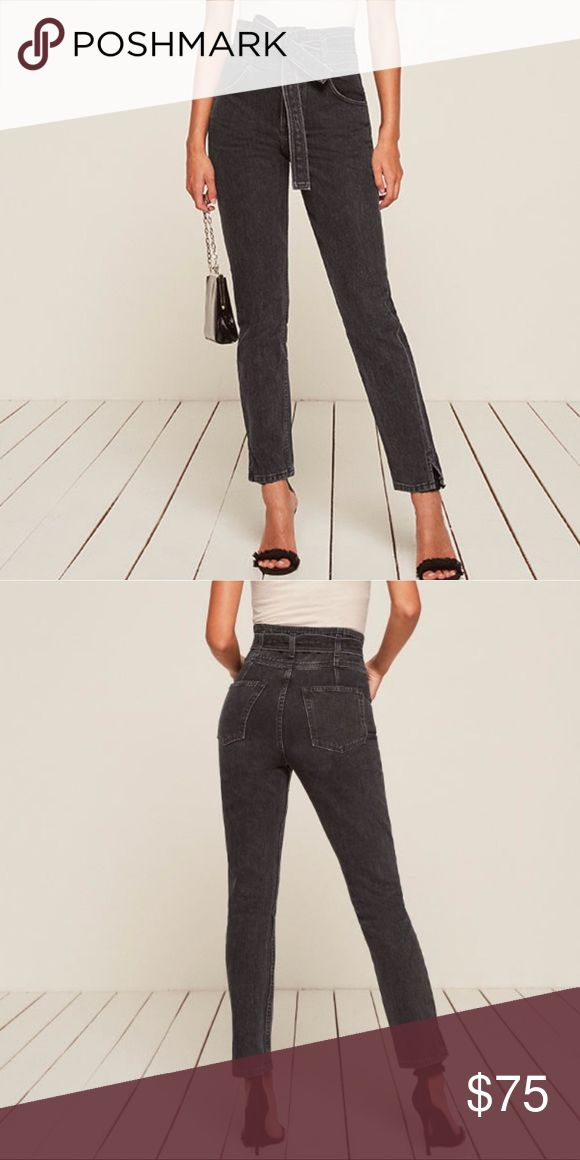 NEW NEVER WORN Reformation Belted Jean 26 Adorable belted high rise skinny leg jeans. Dark gray in color. Thick quality jean material. Zipper fly. Suggest wearing with a tucked in tee or body suit. Wear with heels, flats, or sneaks. So adorable, anything will work 💁🏼‍♀️ Reformation Pants Skinny