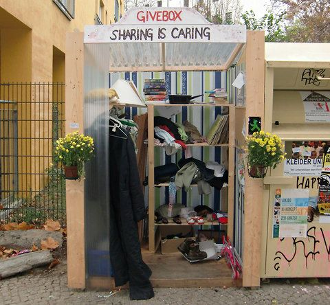 This is a 'givebox' a public place where people can leave and take goods anonymously and freely. In a time of economic hardship and disintegrating communities this is a wonderful idea. Click through to the New York Times piece on it.