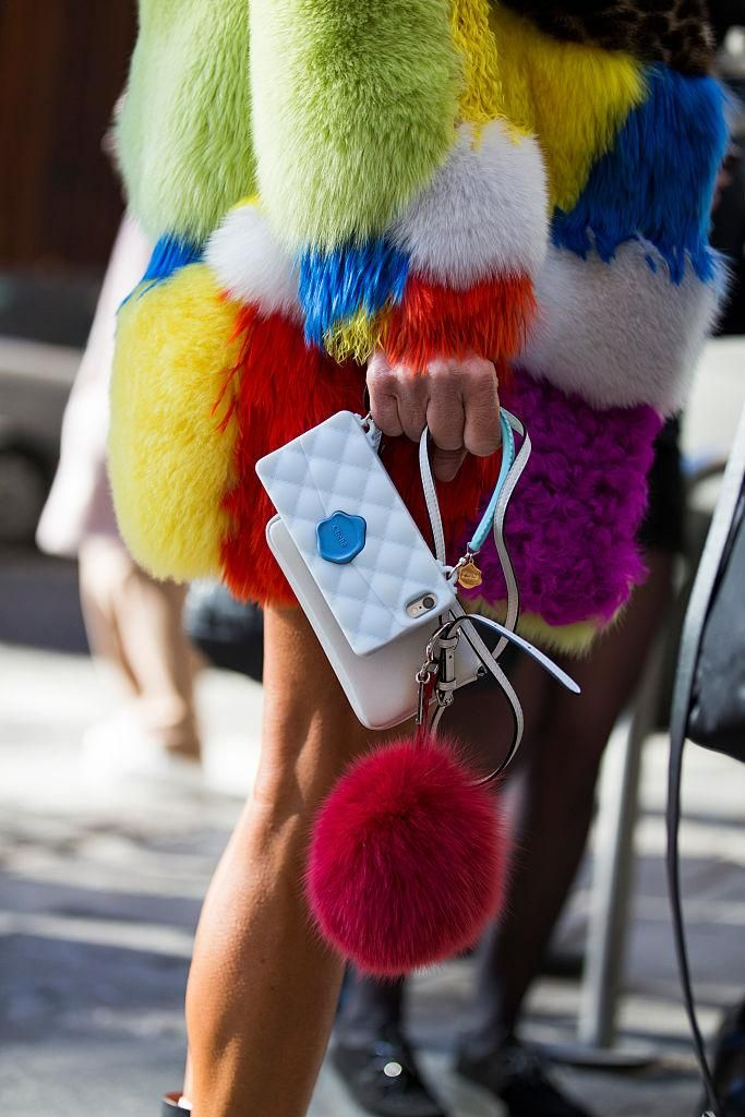 Street Style Trends from Mens Fashion Week Fall 2016 - Colored fur pom pom's are still in