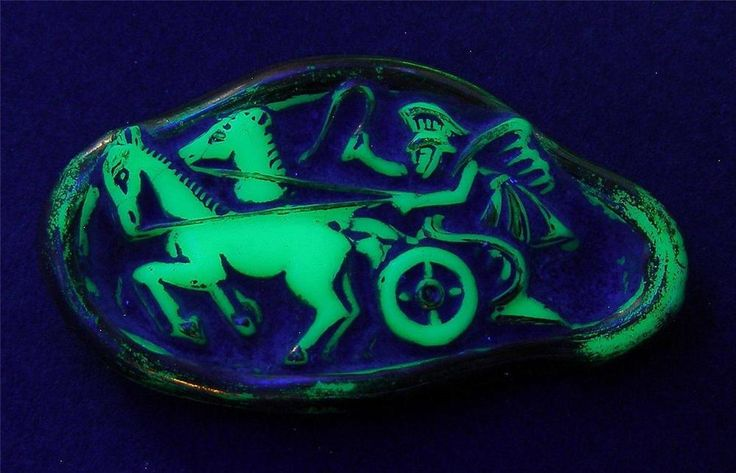 Rare Old Horse Greek Motive Mint Green Uranium Czech Glass Brooch Pin