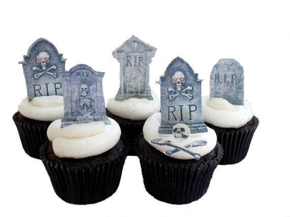 HALLOWEEN TOMBSTONE Cupcake Toppers  12 by incrEDIBLEtoppers, $11.00
