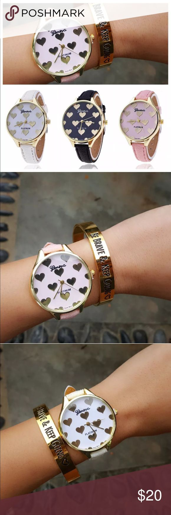 heart leather arm candy watch. Pink, black, white Available in pink, black and white Accessories Watches