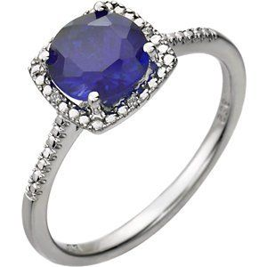3. Sterling Silver Created Blue Sapphire 0.1 CTW Diamond Ring