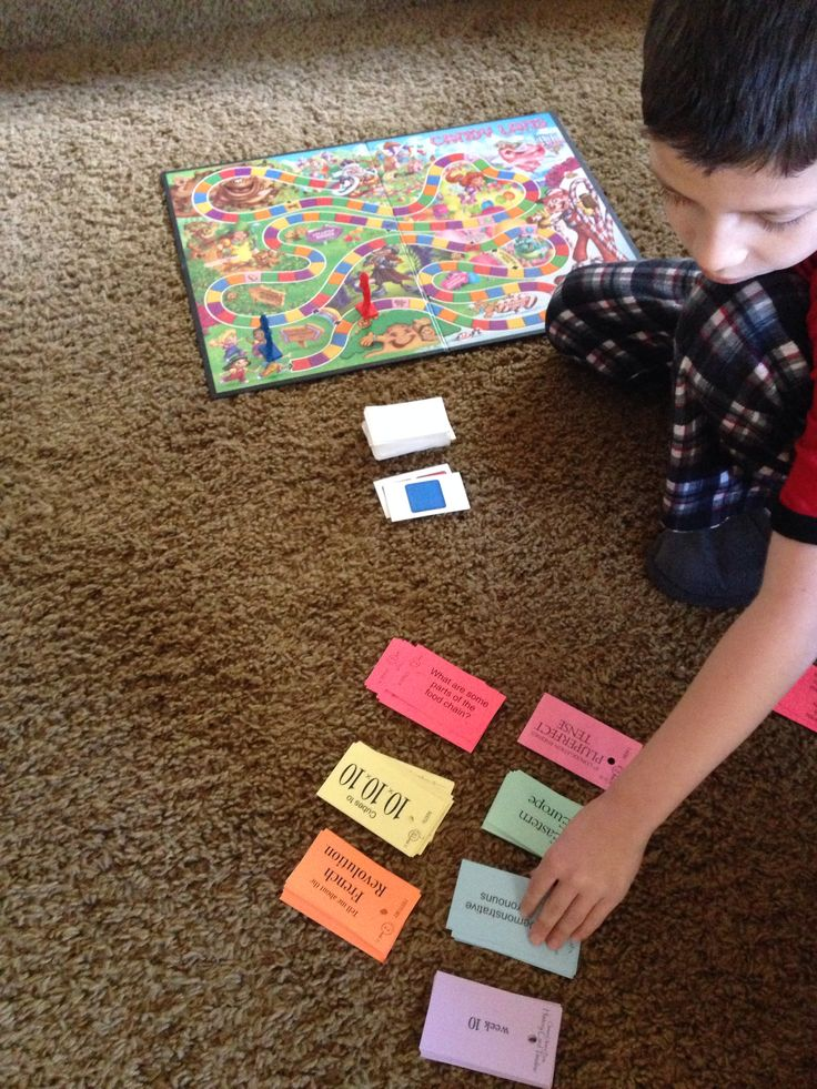 Use Candy Land as a Memory Game for Classical Conversations. Whatever color they turn over is the color they have to answer from the CC cards in order to move forward a space. If they turn over a card with a double color (let's say a double red) they have to answer two CC science questions. If they turn over a card with a candy on it, they have to answer a Latin question. :)