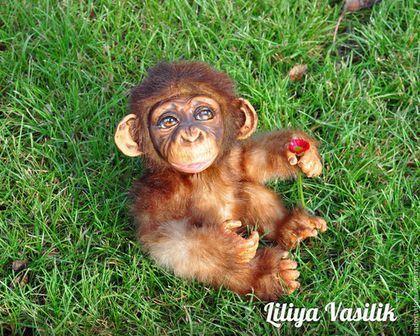 Мишки Тедди ручной работы. Ярмарка Мастеров - ручная работа. Купить Детеныш шимпанзе - Вуди (34 см). Handmade. Коричневый