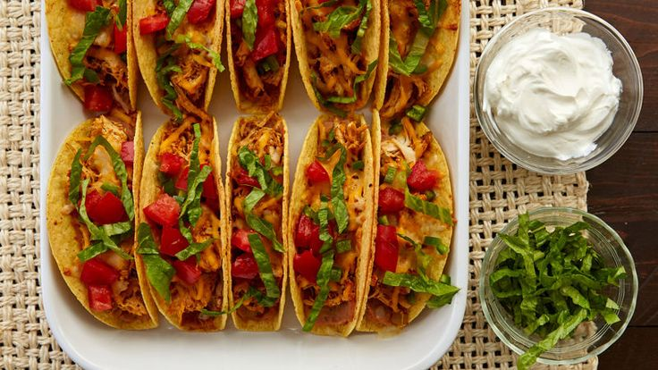 These cheese- and bean-stuffed tacos are our new favorite way to turn a rotisserie chicken into a super-easy dinner that serves up to 10.
