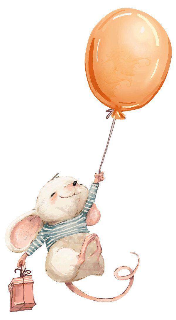 Wandtattoo Kinderzimmer Aquarell Maus Mit Luftballon Wandtattoo