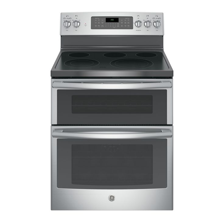 GE Black 30-inch Free-standing Electric Double Oven with Convection Range (Stainless Steel (Silver)) (Glass)