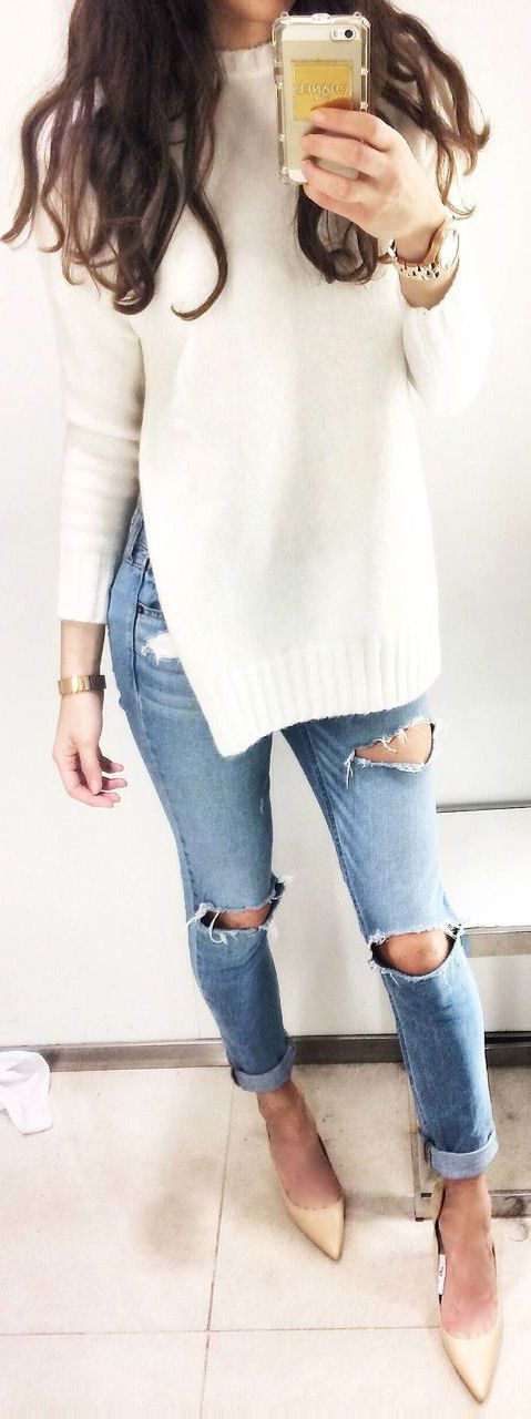 Ripped Jeans & Tunic Sweater ❤︎