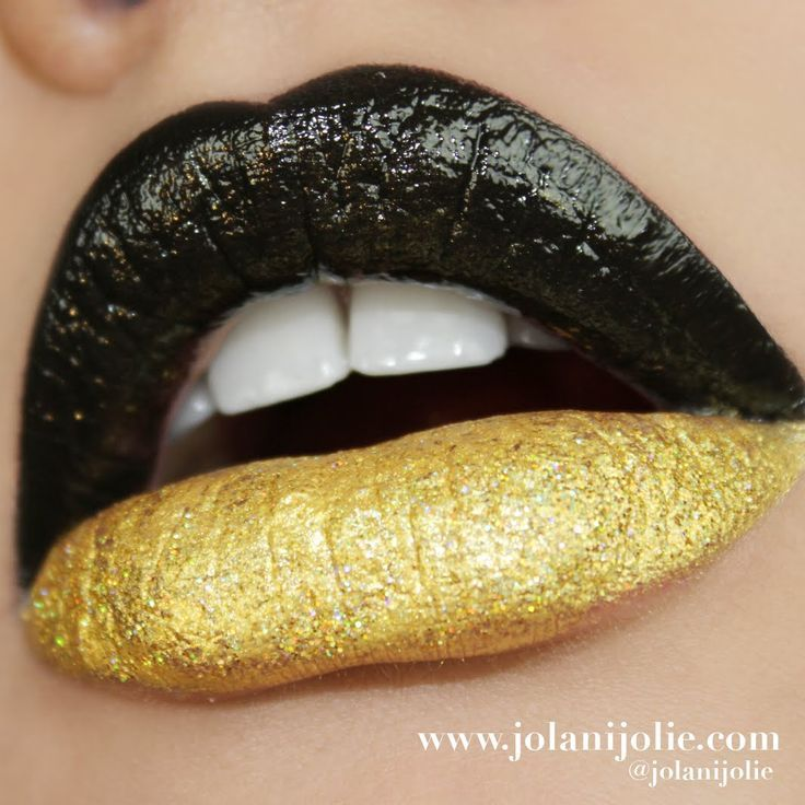 Black And Gold Makeup Ombre And Two Toned Lips