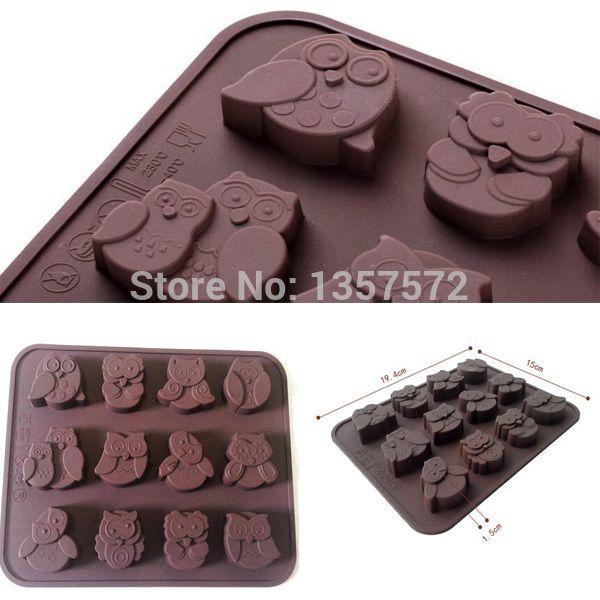 1x nouveau belle drôle de haute qualité mignon Owl Silicone Muffin bonbons Cookies savon moule livraison gratuite Fea(China (Mainland))