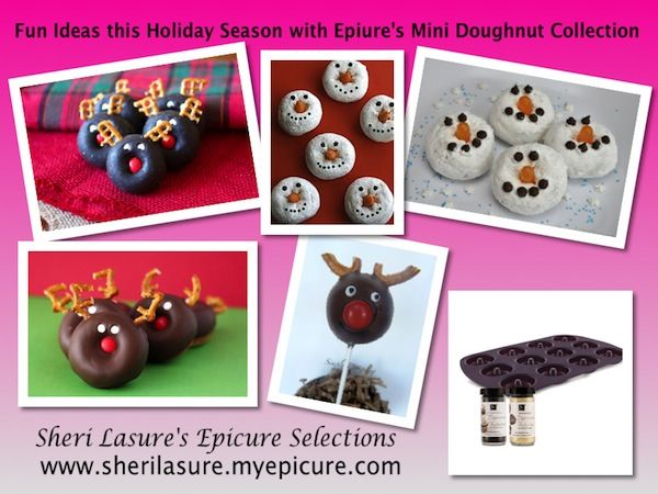 Epicure Selections Mini Doughnuts - Baked little bites anyway you would like to decorate them!  I've given you some suggestions and the kids just LOVE LOVE LOVE the Reindeer & Snowmen :)  Great to bring to those school party's and the best thing is they're homemade & baked!