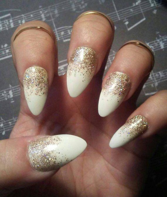Stiletto Almond White Nails With Gold Glitter Glossy Or Etsy White Nails With Gold Gold Glitter Nails Ivory Nails
