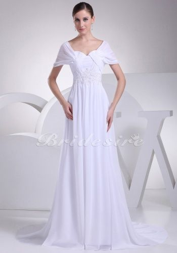 A-line Off-the-shoulder Sweetheart Sweep Train Short Sleeve Chiffon Wedding Dress - $128.99