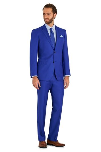 Moss 1851 Italian Cloth Tailored Fit Bright Blue Suit