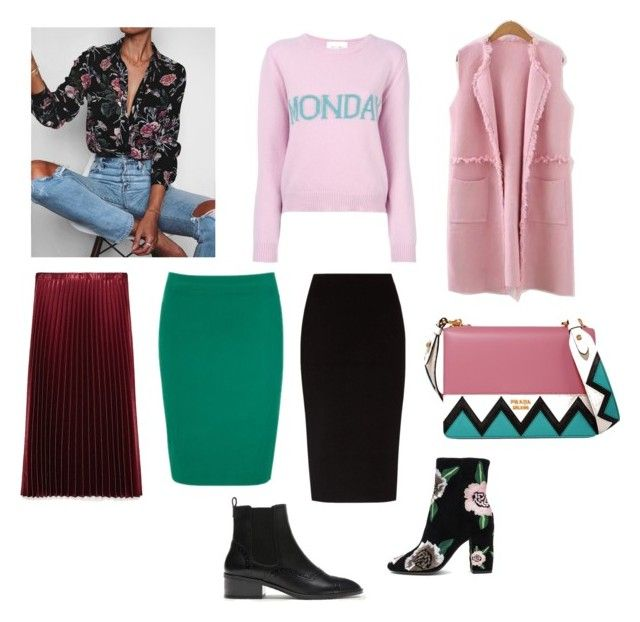 Fall outfit: pencil skirt, pleated skirt, pink jumper, long sleeveless jacket, black shirt with floral print