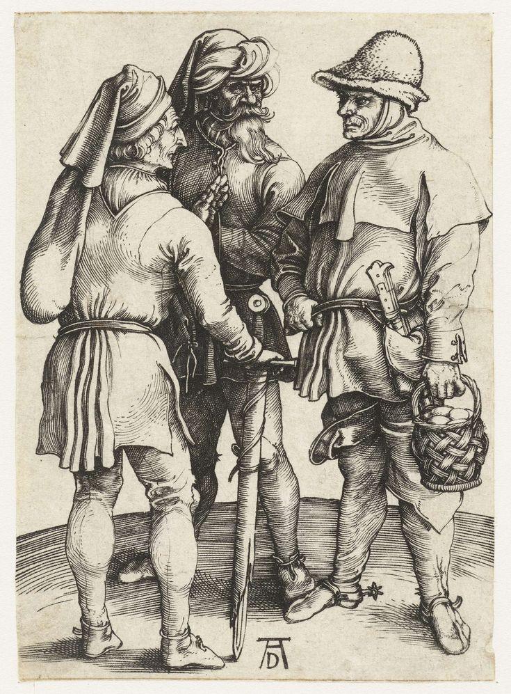 Albrecht Dürer | Drie boeren in gesprek, Albrecht Dürer, 1495 - 1499 | Drie mannen staan met elkaar te praten. Een van hen houdt een zwaard vast, een ander een mandje eieren, de derde heeft een opvallende baard en tulbandachtig hoofddeksel.