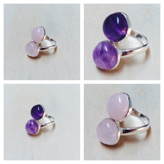 Sterling Silver adjustable amethyst & rose quartz crystal rings! Hand made with love..