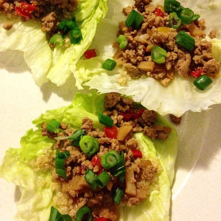 what I'm craving right now: Paleo spicy Chinese lettuce wraps. We had these for dinner last week and the recipe is now up on the blog in a printer friendly version.  # Ingredients: 2 lbs lean ground turkey meat 1 onion finely chopped 2 peppers finely chopped 4 oz mushroom finely chopped Green onion (to taste) 1 tbsp garlic powder 1 tsp red pepper powder 1 head of lettuce 1 can water chestnuts finely chopped Optional: quinoa/rice # Cooked your turkey meat and when done drain excess fat…