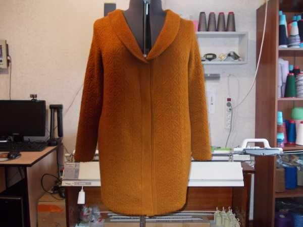 Mnemosina.ru  Куртка связана рельефным жаккардом из белорусской полушерсти в 3 нитки, цвет рыжик, узор №16 по желтому каталогу для Бразера. Застежка молния разъемная и кнопочки.