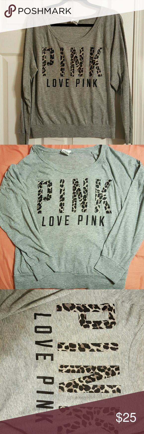 PINK Victoria's secret long tee Pink Victoria Secret long sleeve tee shirt material sweatshirt style.  Heather grey color black Leopard writing in PINK.. CUTE PINK Victoria's Secret Tops Tees - Long Sleeve