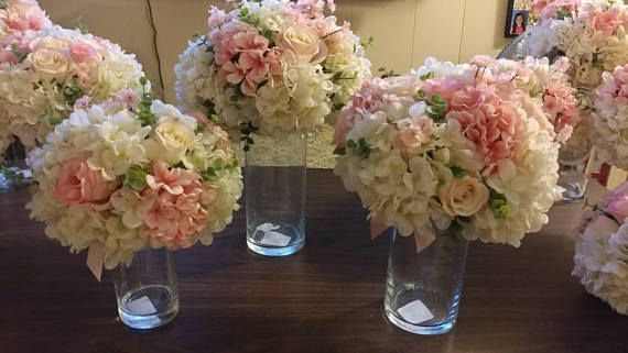 3 PC. WEDDING/SPECIAL OCCASION TABLE CENTERPIECES. APPROXIMATE SIZES ARE LISTED BELOW: 1-9 ROUND X 12 TALL VASE 2-6 ROUND X 6 TALL VASES YOUR CHOICE OF FLOWERS, COLORS, AND ACCENT RIBBONS. ADDITIONAL PIECES MAY BE ADDED AT A DISCOUNTED PRICE AND COMBINED SHIPPING ON MULTIPLE